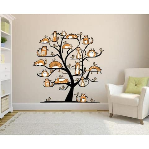 Cats on the Tree Wall Decal, Cats on the Tree Wall sticker, Cats on the Tree wall decor