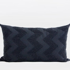 "G Home Collection Luxury Black Chevron Embroidered With Bead Pillow 12""X20"""