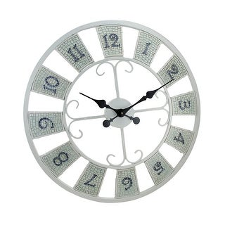 White Mosaic Tile Decorative Wall Clock 23 in.