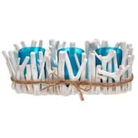 """Set of 3 Blue and White Drift Coast Candle Holder 11.5"""""""