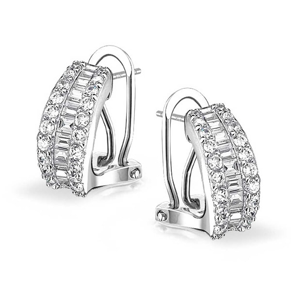 925 Sterling Silver Antiqued CZ Omage-back Earrings