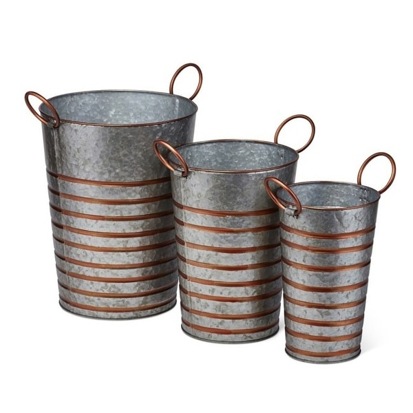 "Set of 3 Gray Daniel Galvanized Planters with Bronze Handles 13.5"" - N/A"