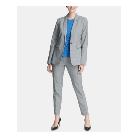 DKNY Womens Gray Plaid Suit Wear to Work Jacket Size 12