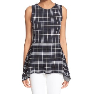 Theory NEW Navy Blue White Womens Size Small S Grid-Print Knit Top