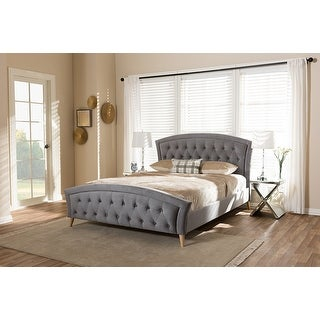 Contemporary Hannah Grey Velvet Fabric Upholstered and Natural Finishing King Size Platform Bed