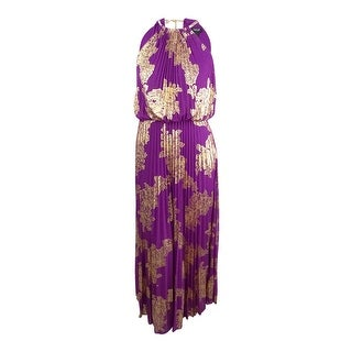MSK Women's Metallic-Print Pleated Blouson Gown