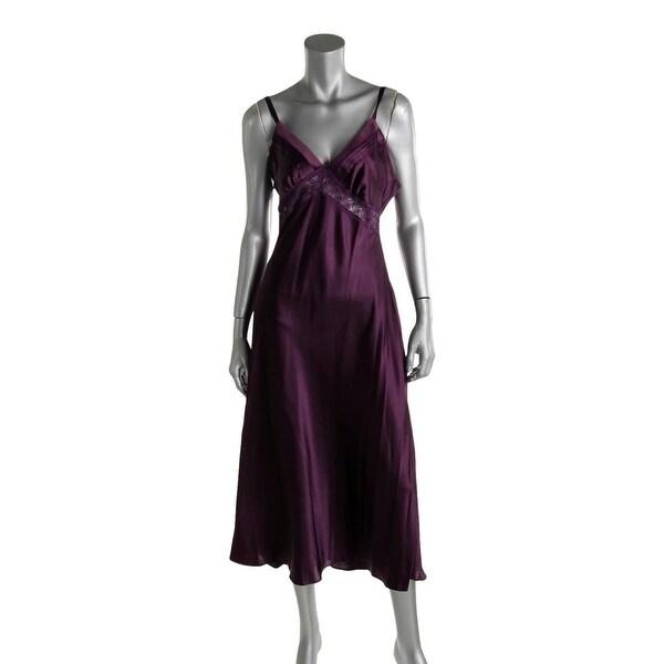 Jones New York Womens Nightgown Satin Lace-Trim - M