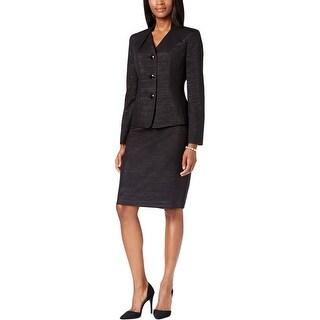 Le Suit Womens Skirt Suit Metallic 3 Button