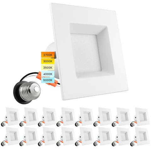 Luxrite 16 Pack 4 Inch Square Recessed LED Can Lights 5 Color Temperature Selectable Dimmable CRI 90 Wet Rated
