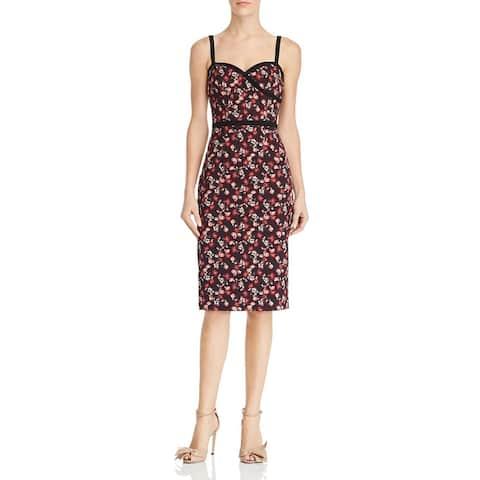 Black Halo Womens Daria Sheath Dress Floral Print Contrast Trim
