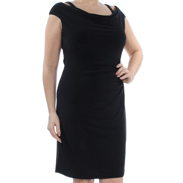 ca70770abb4c Shop RALPH LAUREN Womens Black Ruched Sleeveless Cowl Neck Knee Length  Sheath Cocktail Dress Size: 14 - Free Shipping Today - Overstock - 28373303