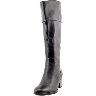Naturalizer Harbor Wide Calf Women W Round Toe Leather Black Knee High Boot