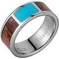 Titanium Wedding Band With Koa Wood & Square Turquoise Inlay 8mm - Thumbnail 0