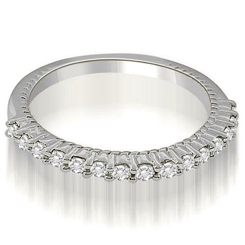 0.27 cttw. 14K White Gold Antique Style Petite Round Cut Diamond Wedding Ring