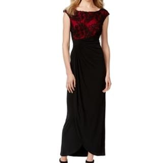 Connected Apparel NEW Red Women's Size 8 Soutache Colorblock Dress