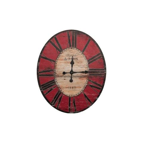 "29"" Oval Distressed Wood Wall Clock"