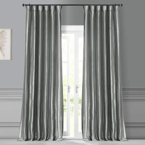 Exclusive Fabrics Solid Faux Silk Taffeta Platinum Single Curtain Panel