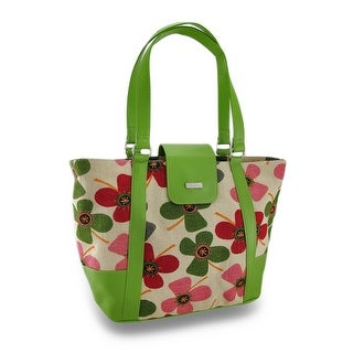 Fashionable Floral Burlap Insulated Cooler Tote Bag w/Vinyl Trim