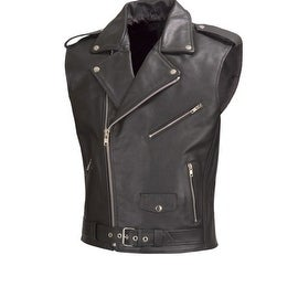 Men Motorcycle Biker Leather Vest Classic Style Black by Xtreemgear MBV111
