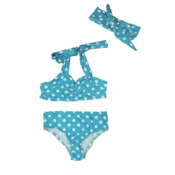 Baby Girls Light Blue Retro Polka Dot Headband Halter-Tie 3 Pc Swimsuit 3-6M
