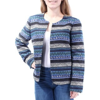 Womens Blue Printed Long Sleeve Open Cardigan Wear To Work Top Size 8