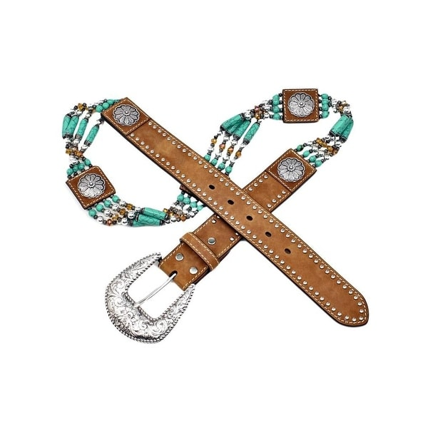 Nocona Western Belt Womens Beadwork Nailheads Floral Conchos