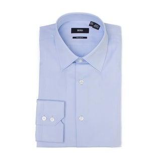 Hugo Boss Men's Cotton Regular Fit Dress Shirt Light Blue