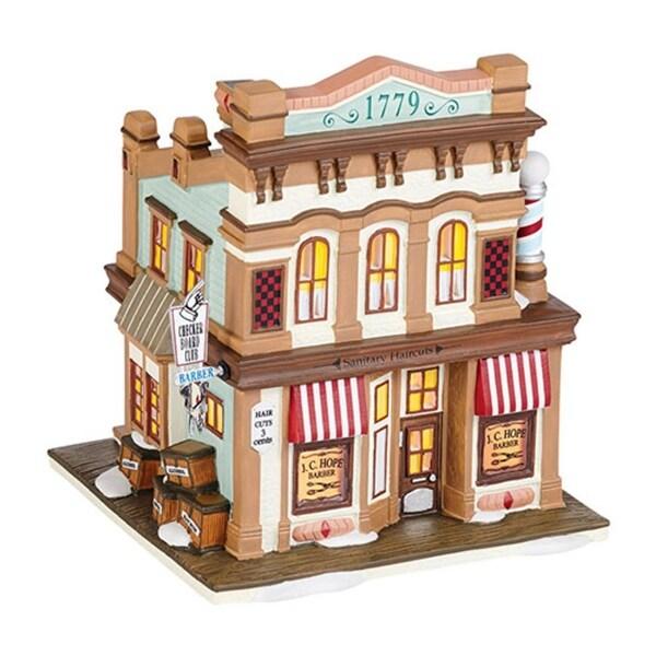 """Department 56 New England Village """"J.C. Hope Barber"""" Porcelain Lighted Building #4036528 - brown"""