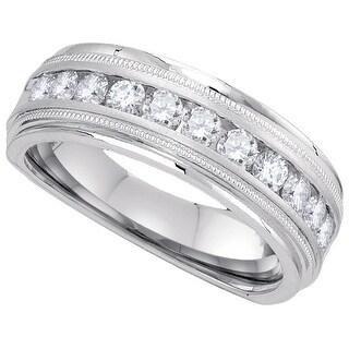 10k White Gold Mens Natural Round Diamond Comfort-fit Wedding Anniversary Band 1/4 Cttw