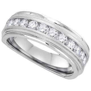 10kt White Gold Mens Round Natural Diamond Band Wedding Anniversary Ring 1.00 Cttw