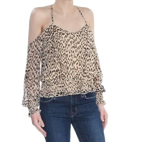 Guess Beige Women Size Large L Leopard Printed Cold-Shoulder Blouse