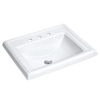 "Miseno MLD-2318-3 18 1/4"" Drop In Bathroom Sink with 3 Holes Drilled and Overflo - White"