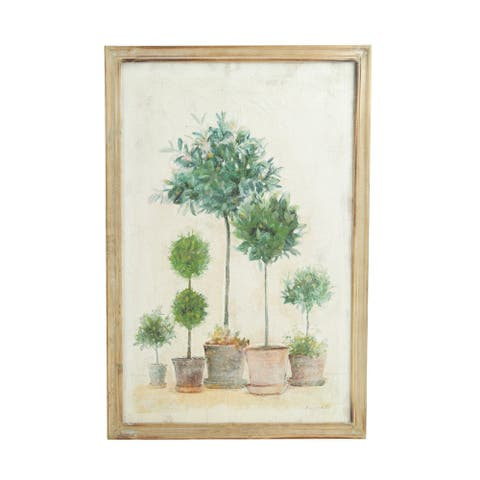 Potted Trees & Topiaries Canvas Wall Decor with Wood Frame - Beige