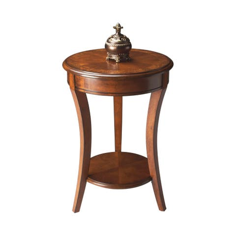 "Offex 18""Dia Distressed Solid Wood Round Accent Table in Olive Ash Burl Finish - Medium Brown"