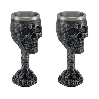 Set of 2 Grim Grinning Skull Stainless Steel Lined Chalices