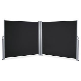 BELLEZE Outdoor Retractable Folding Side Awning Waterproof Sun Shade Patio Privacy Divider 19.6 x 5.2FT, Black