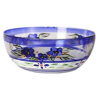 """Blue Floral with Blue and White Stripes Hand Painted Glass Serving Bowl 11"""""""