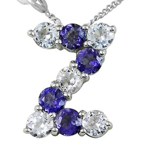 Iolite, Topaz Sterling Silver Round Z-Initial Shape Pendant by Orchid Jewelry