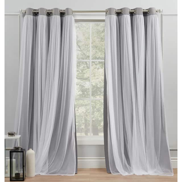 ATI Home Catarina Layered Curtain Panel Pair with grommet top - 52x120 - Soft Grey