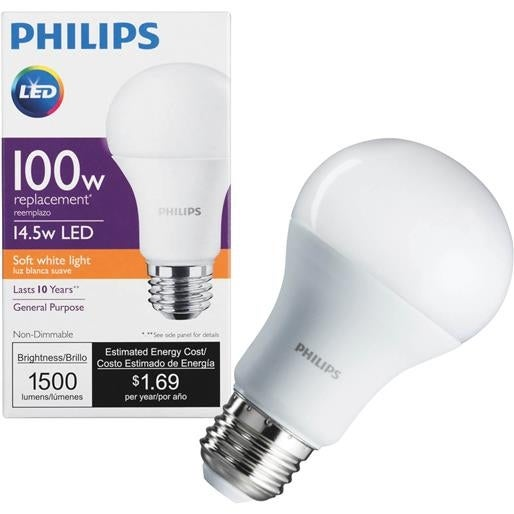 Philips Lighting Co 14.5W A19 Led Bulb 455675 Unit EACH  sc 1 st  Overstock & Shop Philips Lighting Co 14.5W A19 Led Bulb 455675 Unit: EACH - Free ...