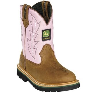 John Deere Girls Toddler Kids Pink Cowboy Waterproof Boots 8.5-3