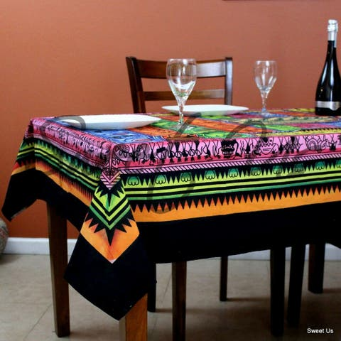 Cotton African Tribal Tablecloth Rectangle 60x85 Blue Green Orange Pink Black