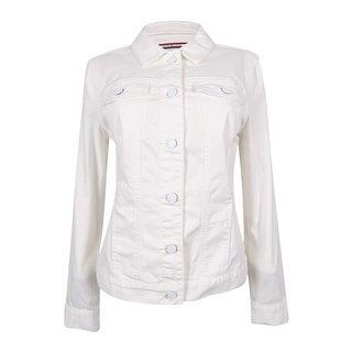 Tommy Hilfiger Women's Denim White Wash Jacket (White, M)