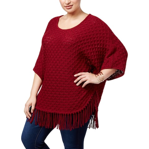 NY Collection Womens Plus Pullover Sweater Knit Fringe