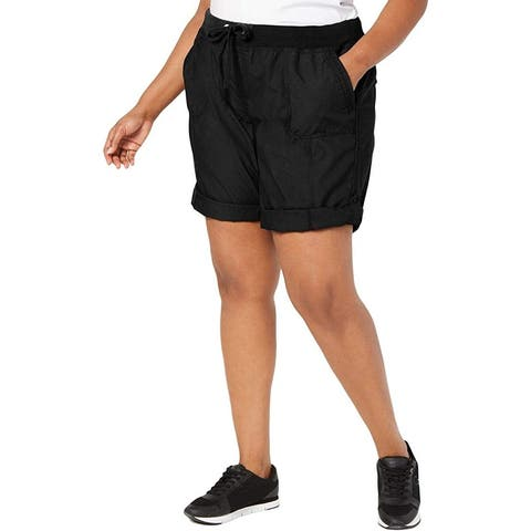 Calvin Klein Womens Black Size 3X Plus Drawstring Pull On Cargo Shorts