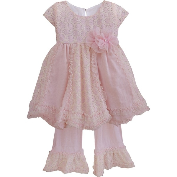 Isobella & Chloe Baby Girls Light Pink Darling Demure Two Piece Pant Set 6M-24M