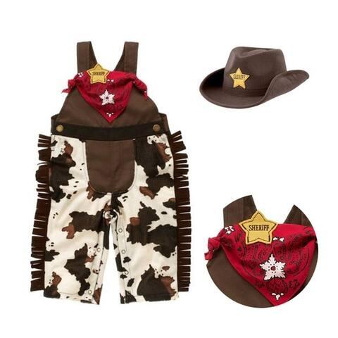 3Pcs Baby Boy Kids Children Cowboy Hat+Bib+Pants Outfit Set Suit - multicolor