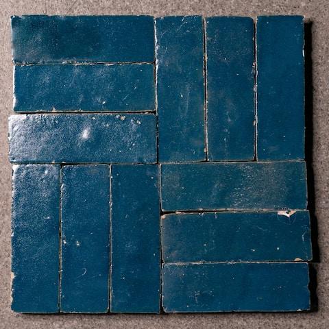 Moroccan Handmade 2x6 Solid Color Zellige Tile Marine Blue
