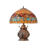 "Meyda Tiffany 139609 Black Eyed Susan 2 Light 19.5"" Tall Hand-Crafted Table Lamp with Stained Glass - n/a"