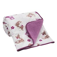 Bedtime Originals Lavender Woods White/Purple Woodland Owl, Flower, and Fox Velour Sherpa Baby Blanket
